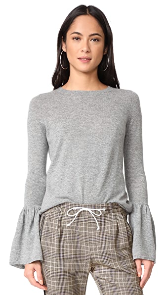 Autumn Cashmere Cashmere Sweater with Ruffle Cuffs - Cement