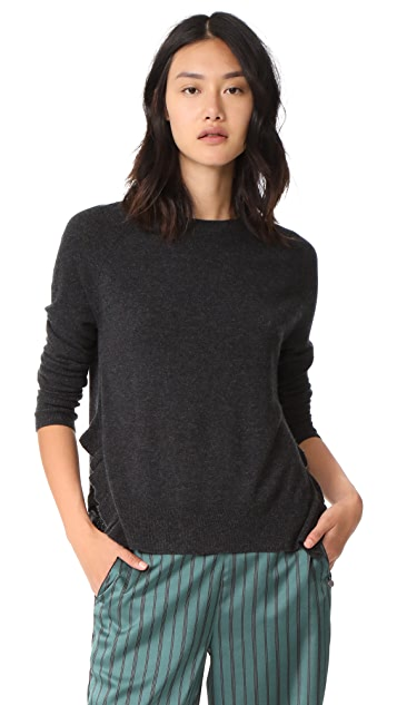 Autumn Cashmere Crew Neck Sweaters with Ruffles