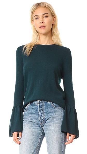 Autumn Cashmere Cashmere Sweater with Ruffle Cuffs - Juniper