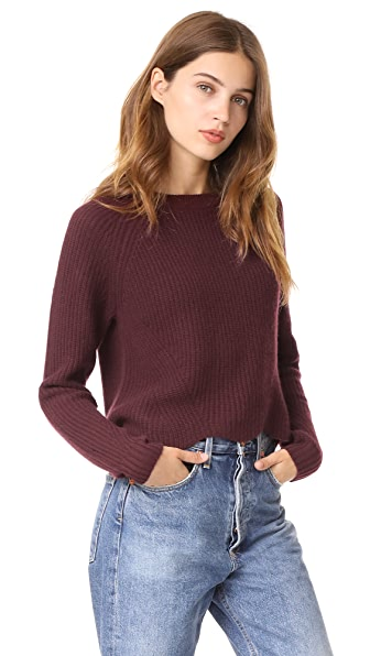 Autumn Cashmere Scalloped Cashmere Shaker Sweater - Black Rose