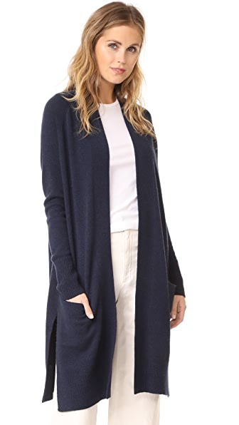 Autumn Cashmere Maxi Open Cardigan In Navy