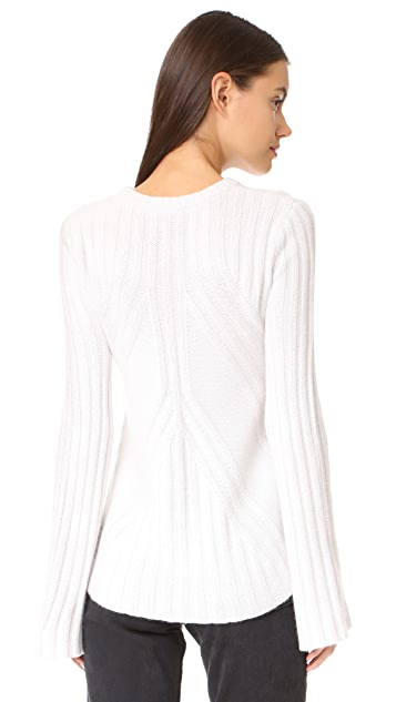 Autumn Cashmere Ribbed Flare with Bell Sleeves