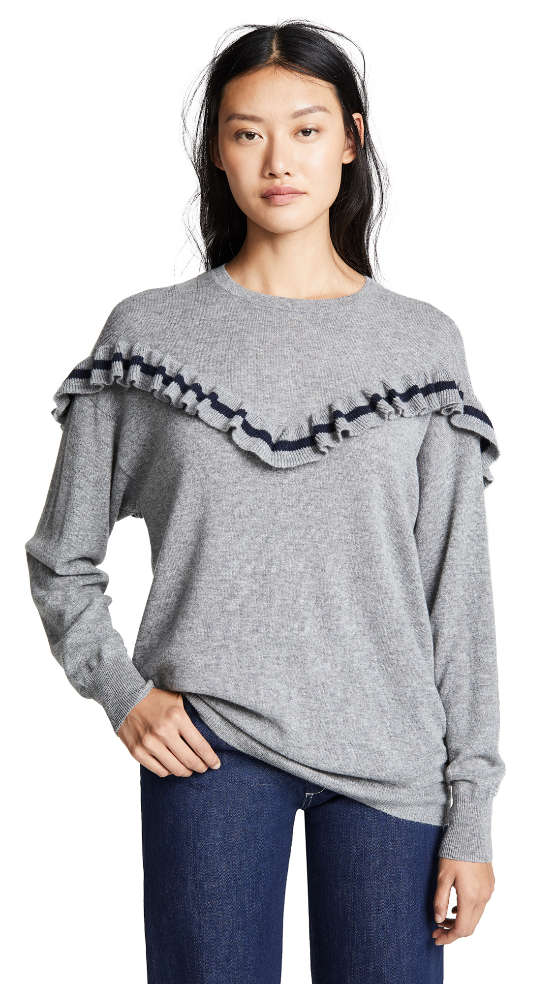 Autumn Cashmere Oversize Cashmere Sweater In Cement/Navy