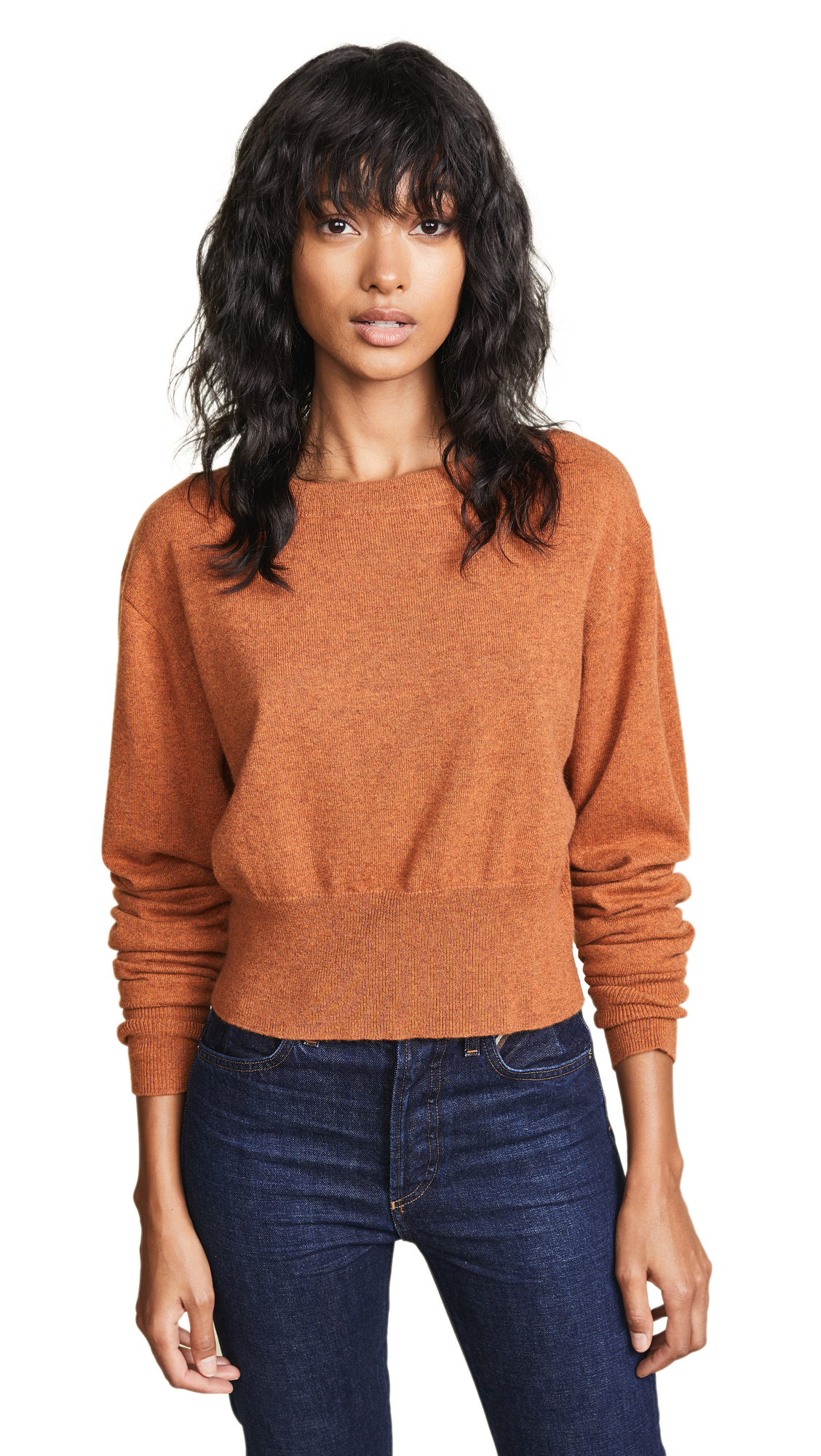 AUTUMN CASHMERE Scrunch Sleeve Cashmere Sweater in Spice