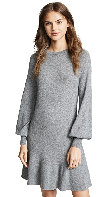 Autumn Cashmere Bishop Sleeve Cashmere Ruffle Dress
