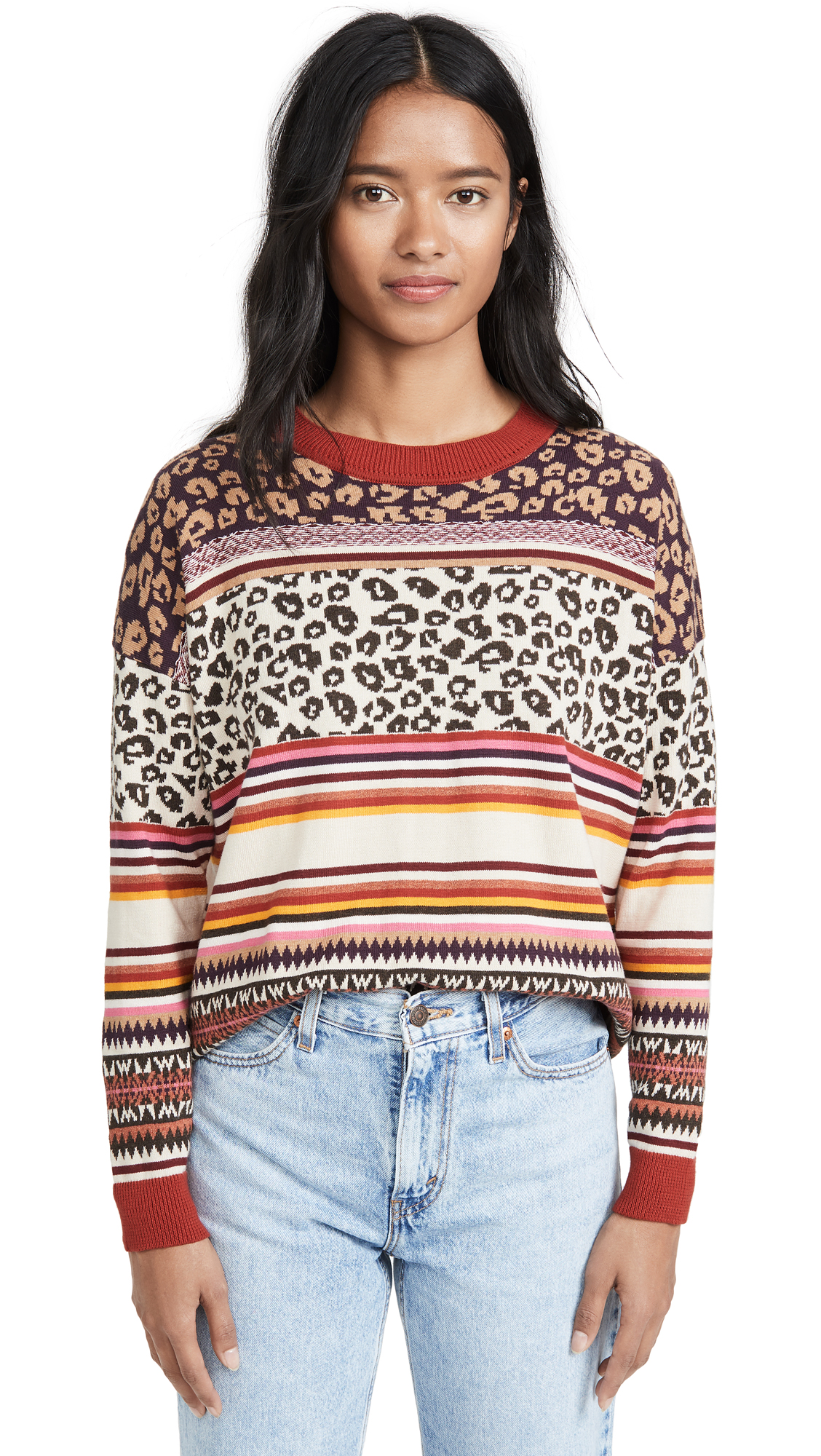 Buy Autumn Cashmere online - photo of Autumn Cashmere Leopard Fairisle Crew Sweater