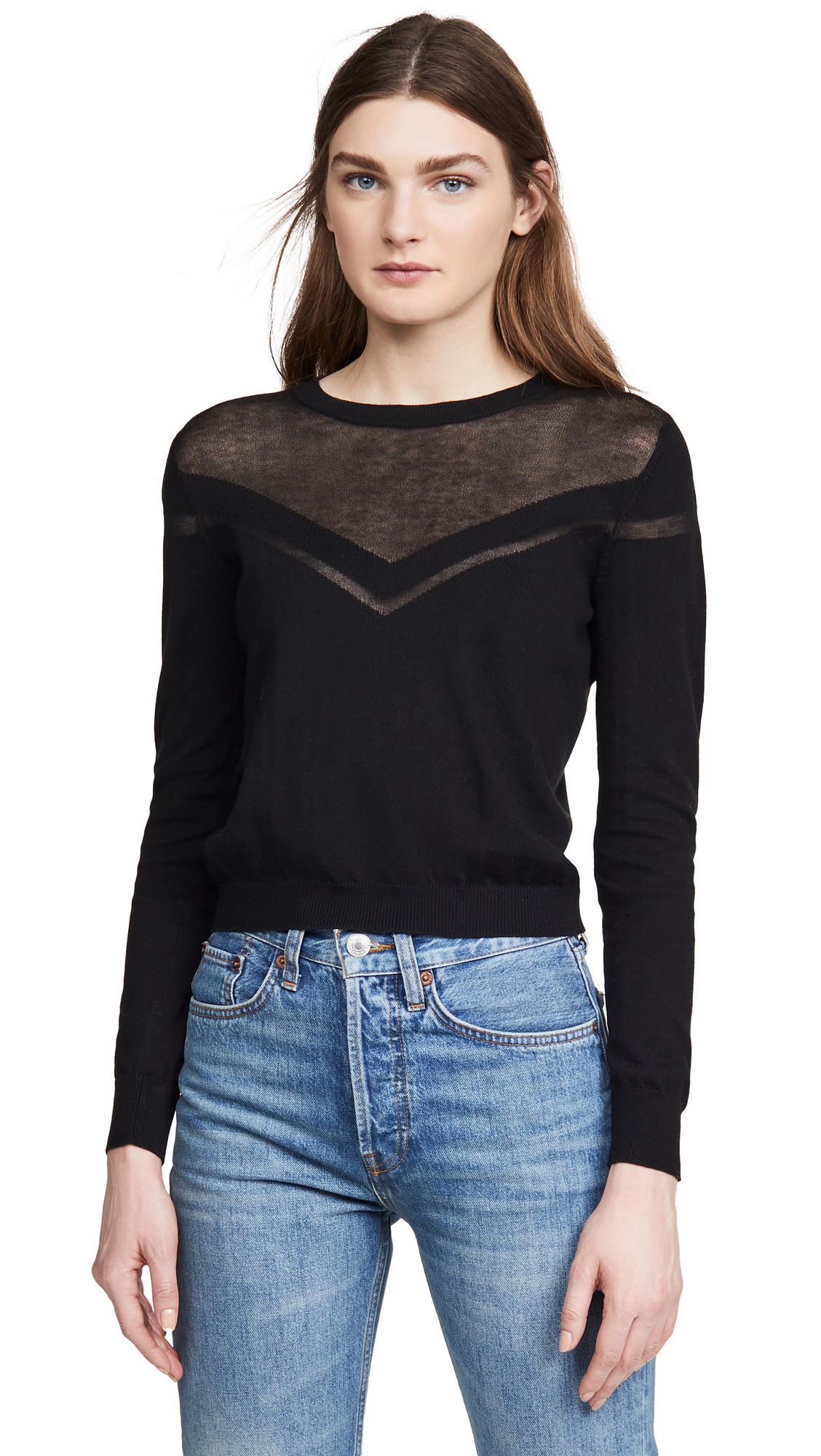 Buy Autumn Cashmere online - photo of Autumn Cashmere Shadow Stripe Yoke Crew Sweater