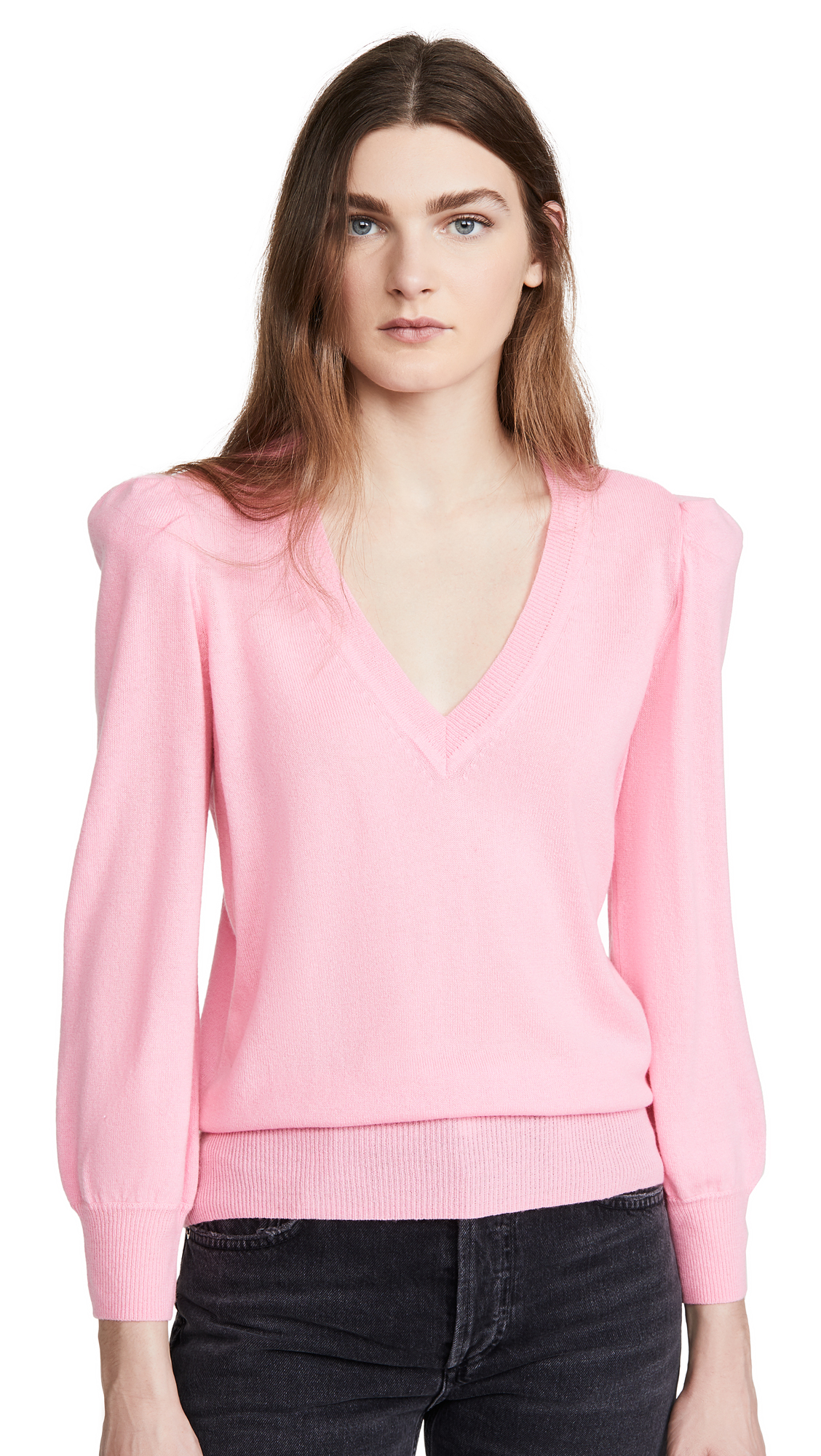 Buy Autumn Cashmere online - photo of Autumn Cashmere Puff Sleeve Cashmere V Neck Pullover