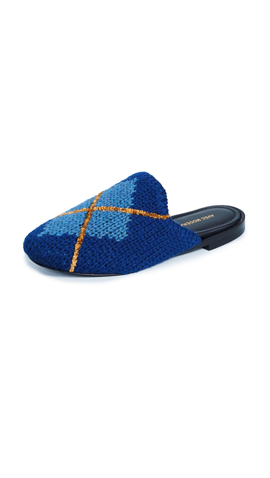 Avec Moderation Zermatt Argyle Slides - Blue