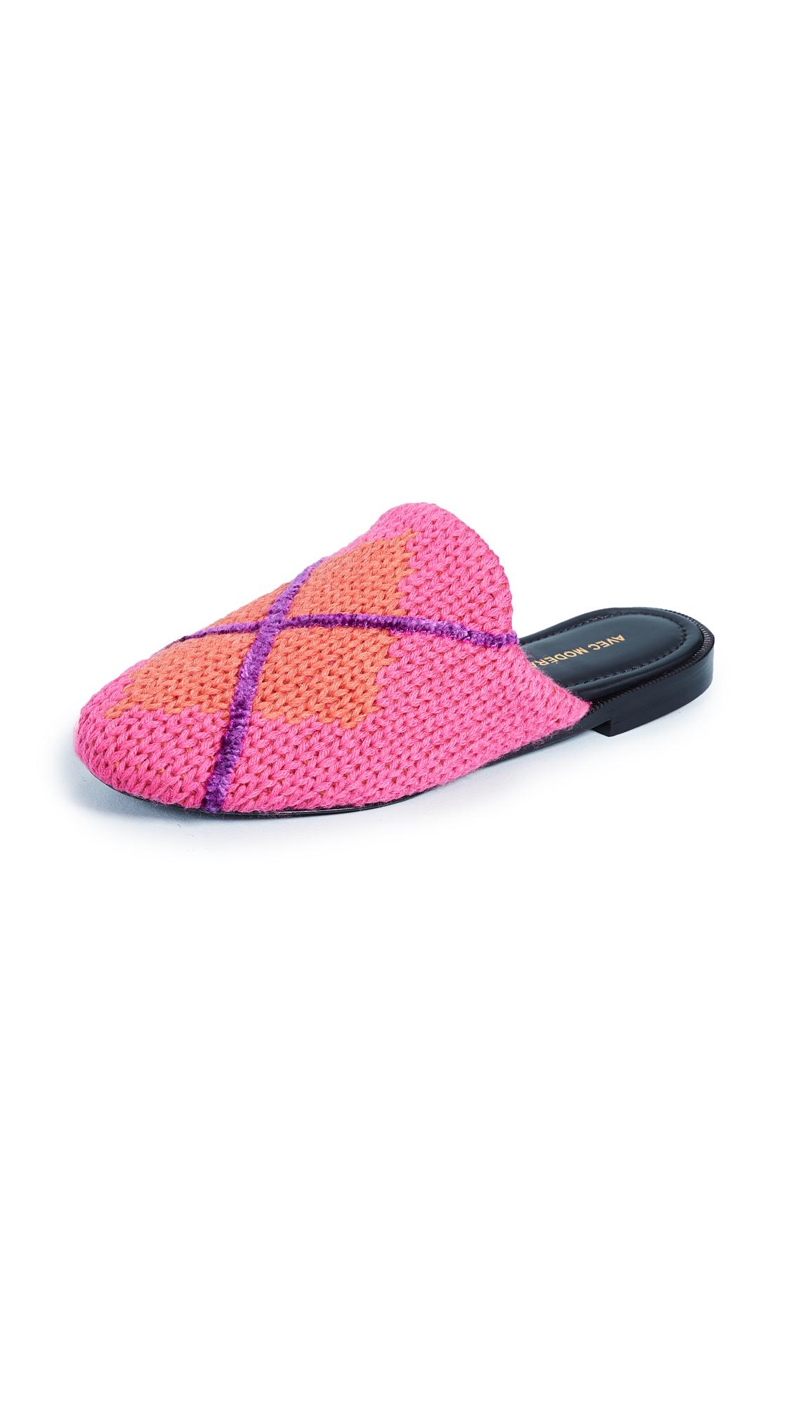Avec Moderation Zermatt Argyle Slides - Pink