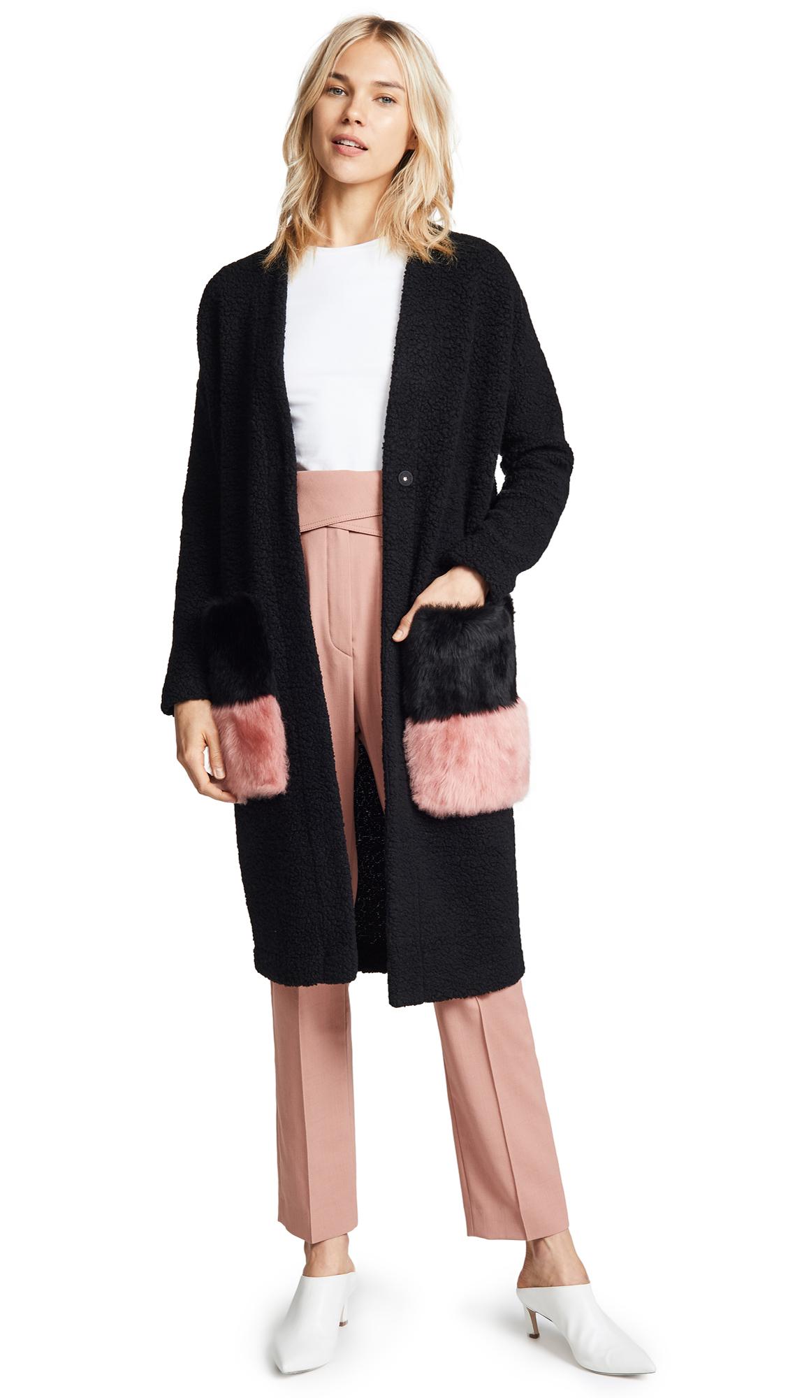 ANNE VEST Brisbane Cardigan in Black/Pink