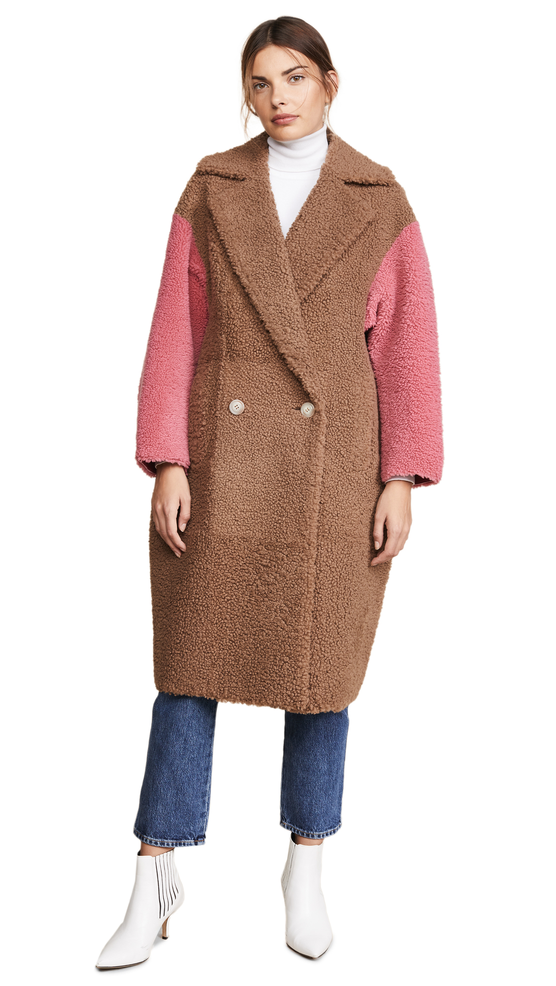 ANNE VEST Coze Coat in Brown/Pink