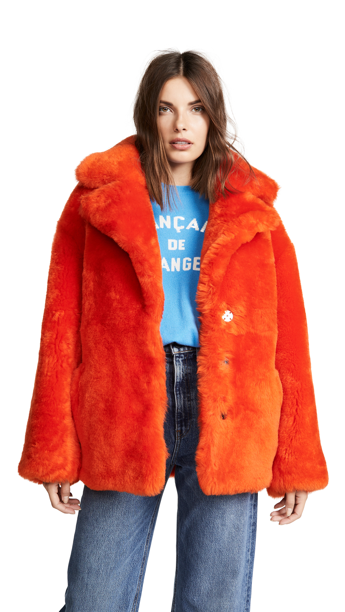 Anne Vest Sirid Shearling Coat In Dark Orange