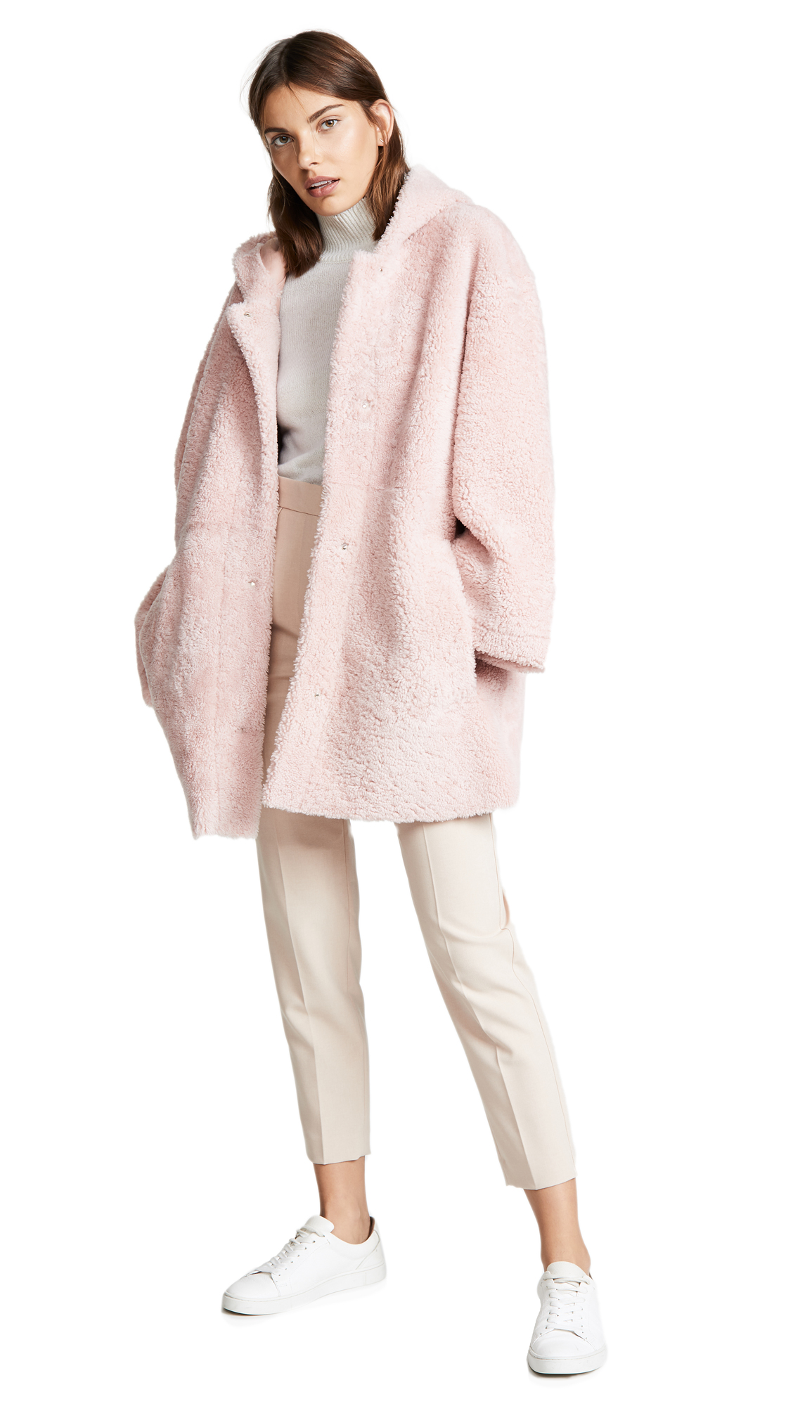 Anne Vest Zineb Shearling Hooded Coat In Light Pink