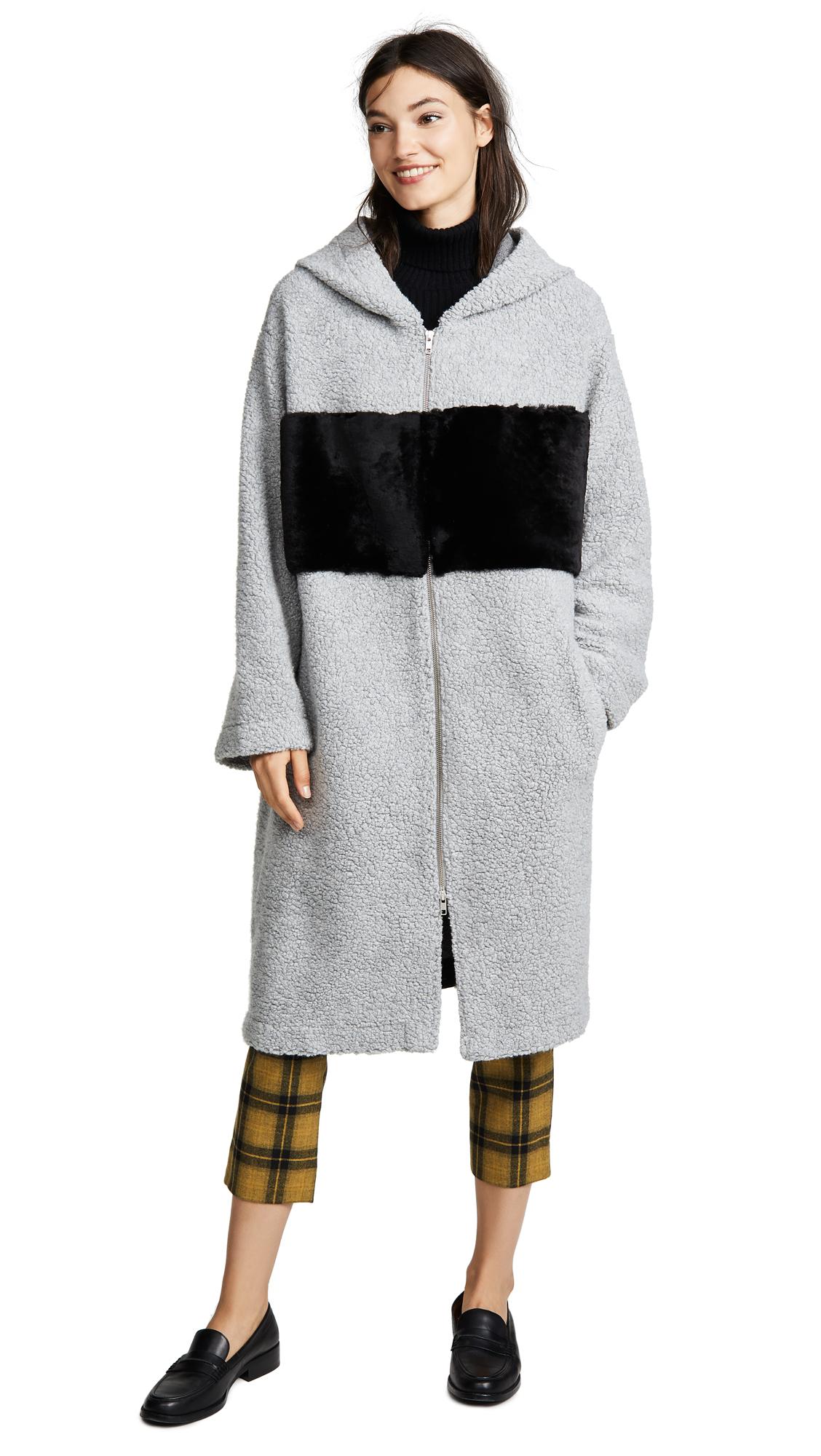 ANNE VEST Hoodie Coat in Grey/Black