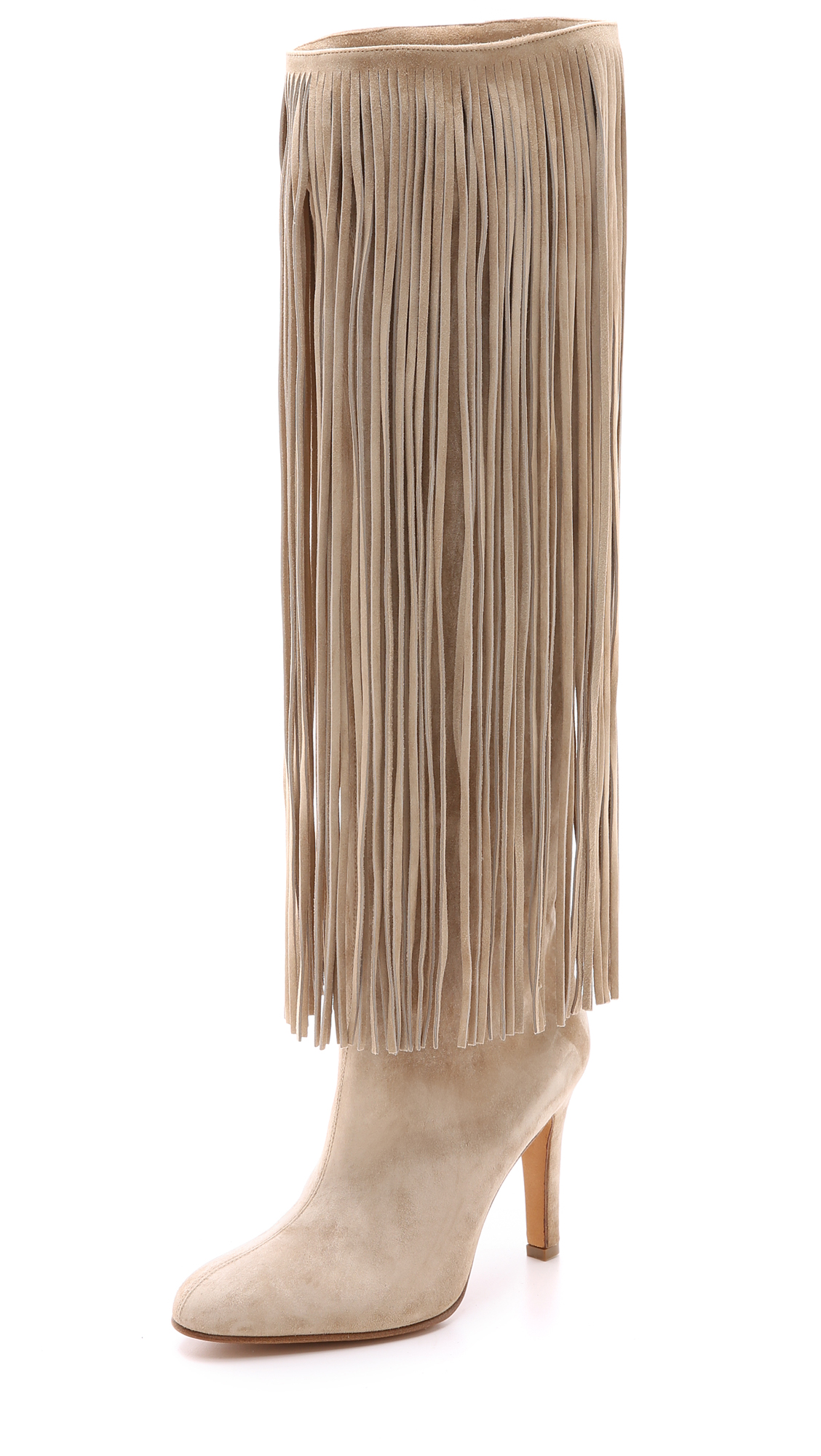 Alexa Wagner Nelli Suede Fringe Boots - Nude