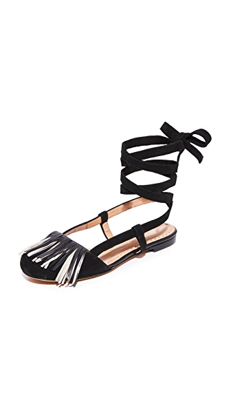 Alexa Wagner Fringe Flats In Black/White