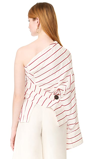 A.W.A.K.E. One Shoulder Twisted Top
