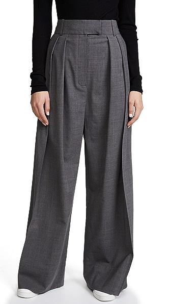 A.W.A.K.E. Woman Pleated Wool-Blend Wide-Leg Pants Gray in Grey