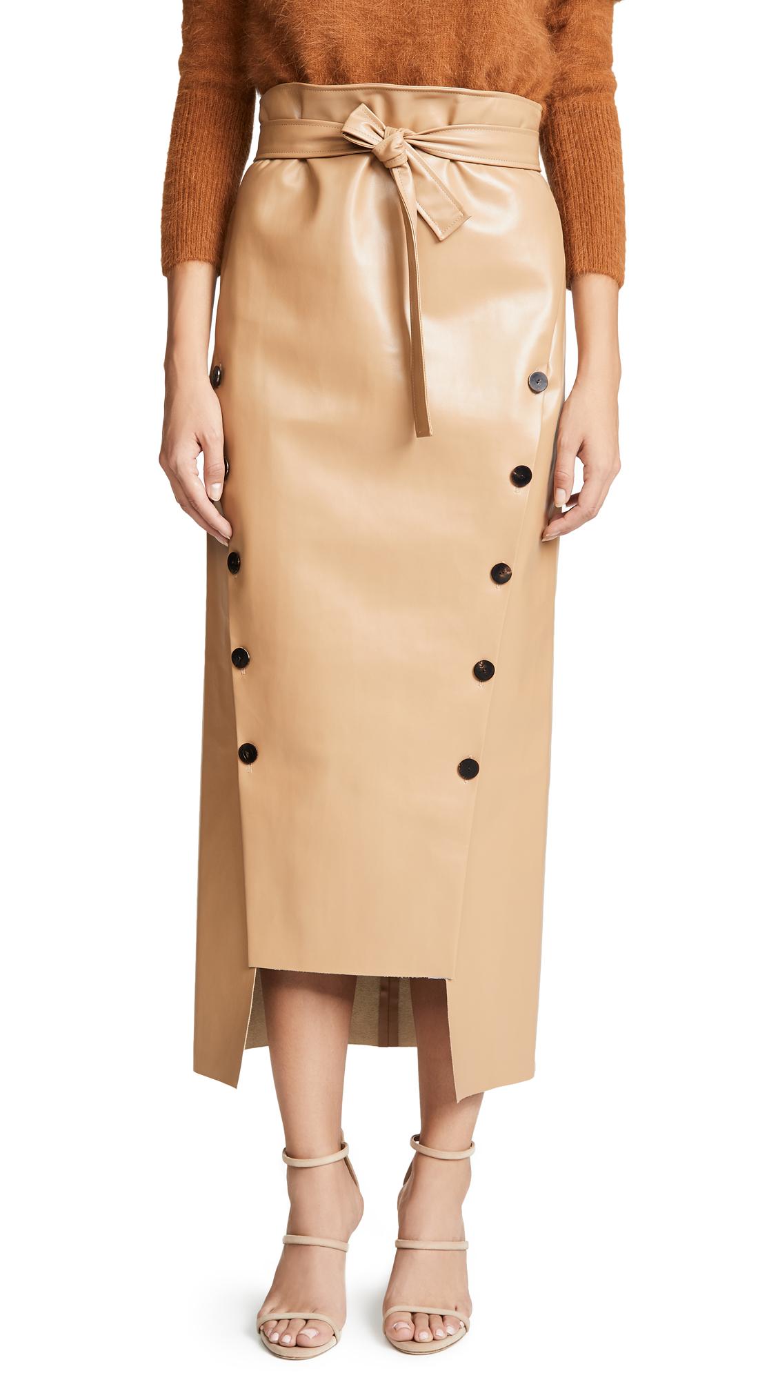 A.W.A.K.E. Double Button Front Tie Waist Skirt In Beige