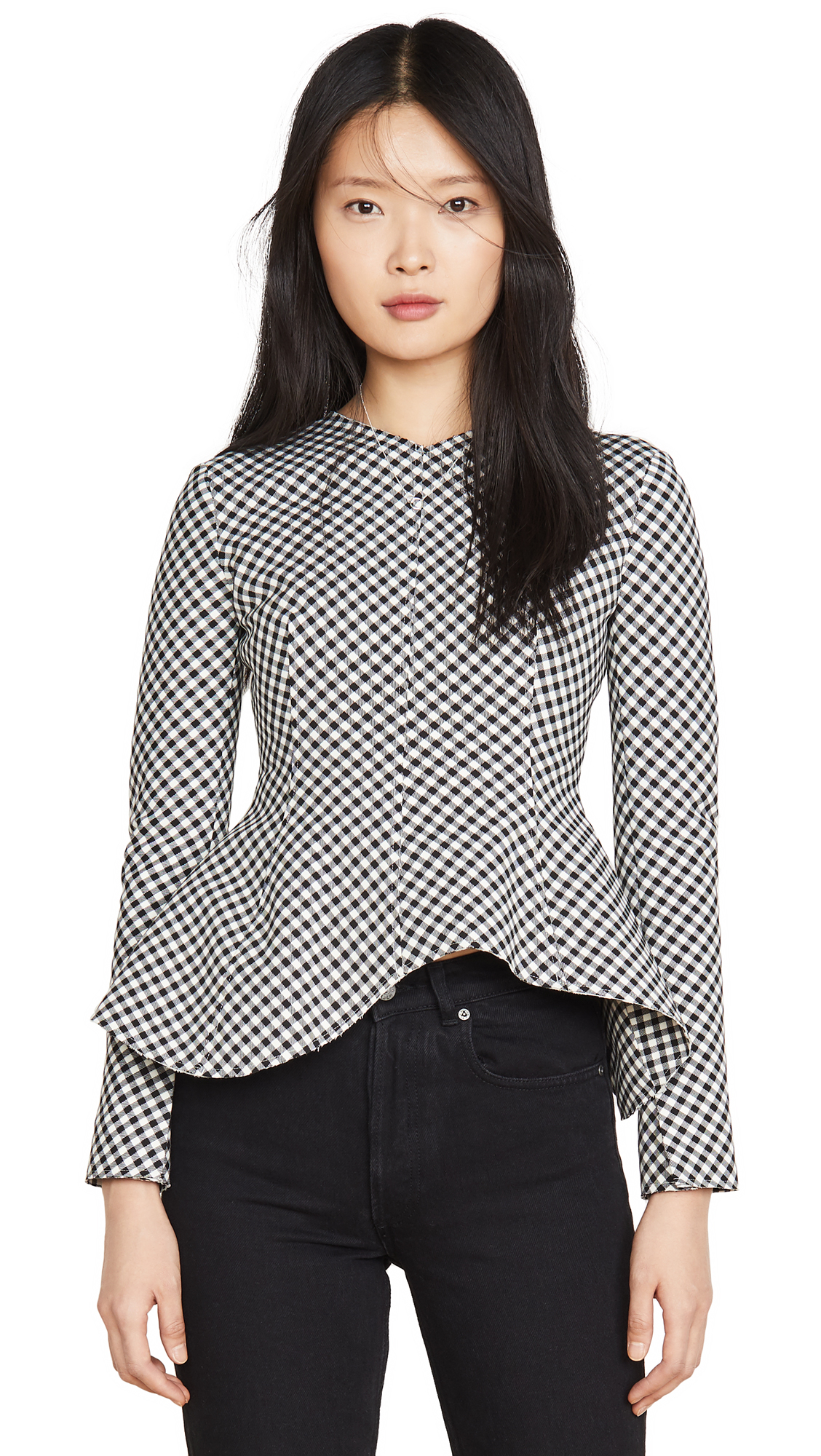 A.W.A.K.E MODE Gingham Peplum Top - 50% Off Sale