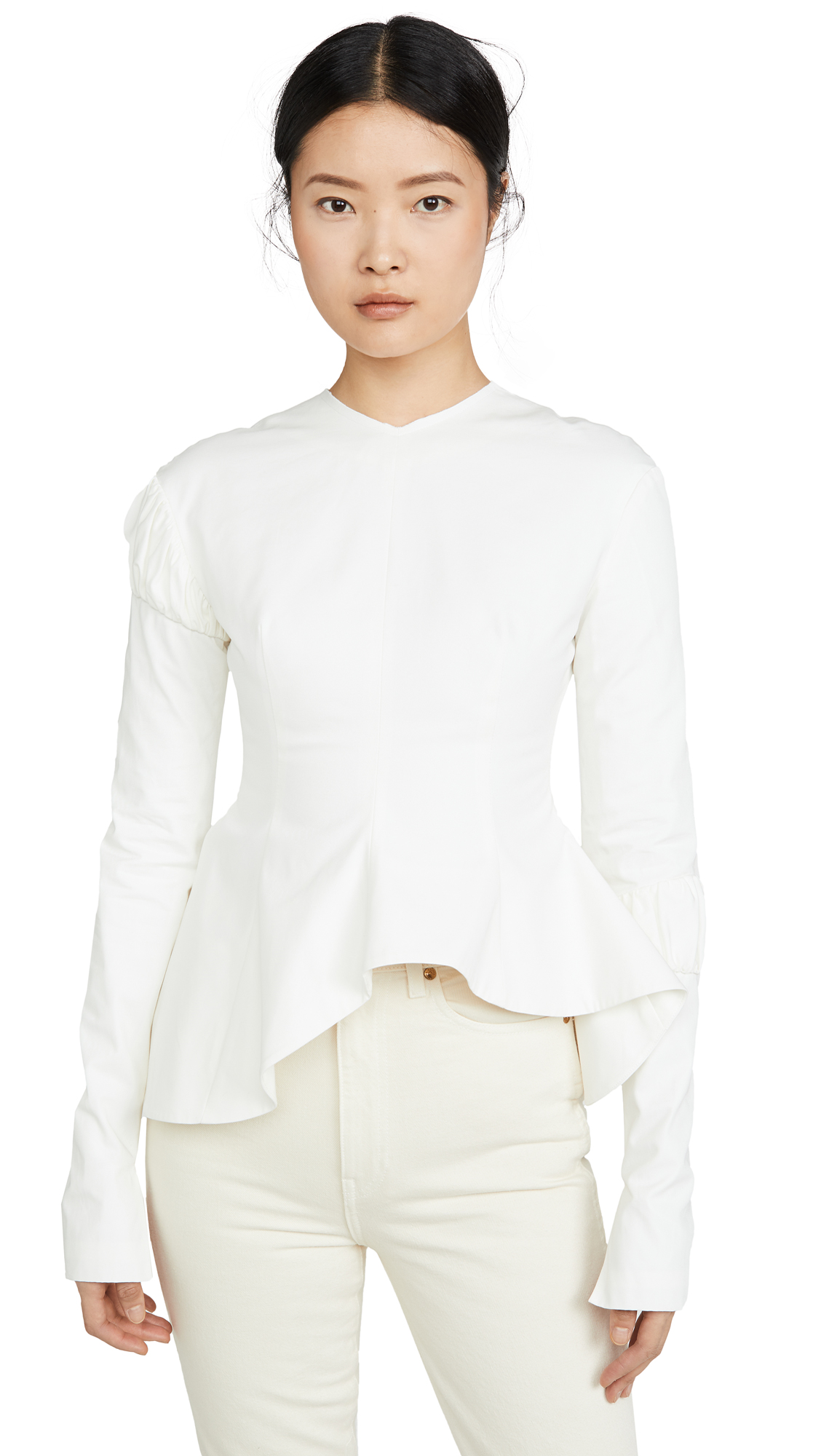 A.W.A.K.E MODE Peplum Top With Gathered Details On The Sleeves - 50% Off Sale