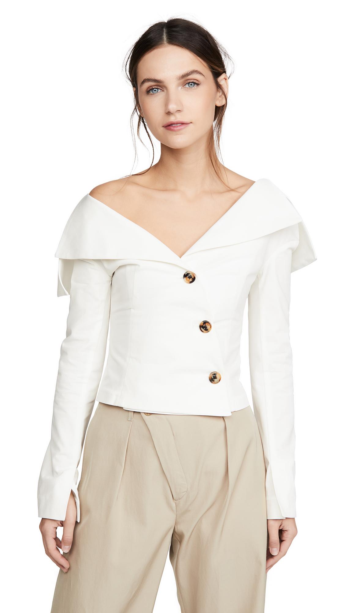 A.W.A.K.E MODE Off Shoulder Jacket Top - 40% Off Sale