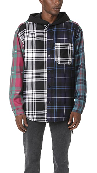 Alexander Wang Wool Tartan Multi Combo Hooded Shirt