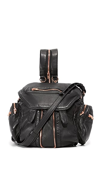 Alexander Wang Mini Marti Backpack with Rose Gold Hardware In Black