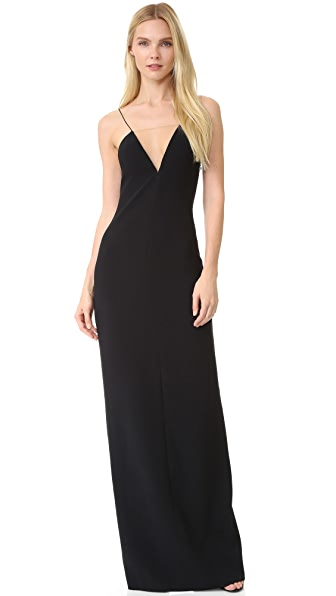 Alexander Wang V Neck Slip Gown with Sheer Insert - Jet