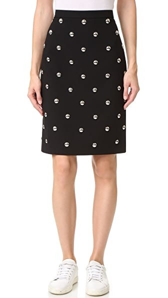 Alexander Wang Allover Studded Pencil Skirt - Jet