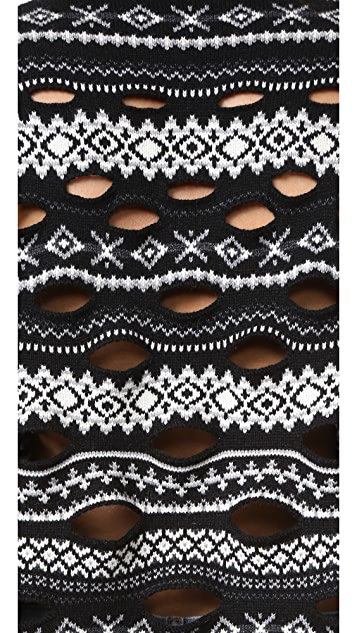 Alexander Wang Fair Isle Pullover with Burnout Panel