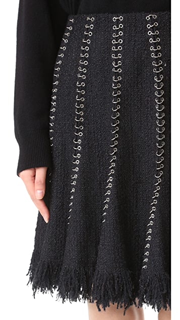 Alexander Wang Flared Skirt with Ring Piercing Seams