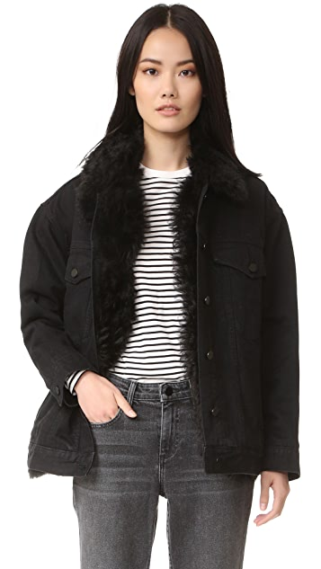 Alexander Wang Boyfriend Denim Jacket with Fur Lining