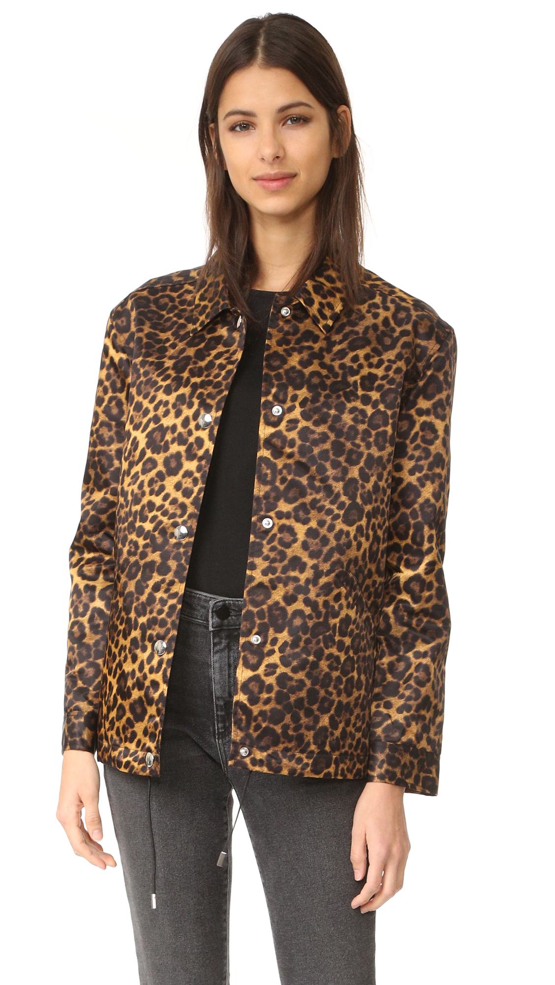 A sleek, leopard print Alexander Wang coat with a boxy, roomy fit. A drawstring gathers the hem, and welt pockets detail the front. Snap placket. Long sleeves and snap cuffs. Unlined. Fabric: Sleek, sturdy mid weight