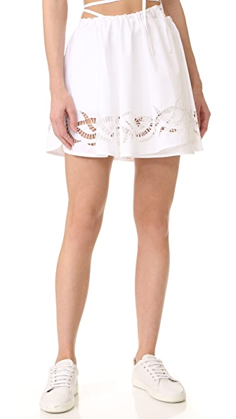 Alexander Wang Leather Stitched Wrap Skort - Bleach