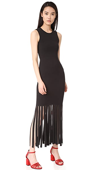 Alexander Wang Tank Dress with Fringed Hem
