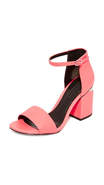 Alexander Wang Abby Mid Heel Sandals - Fluo Coral
