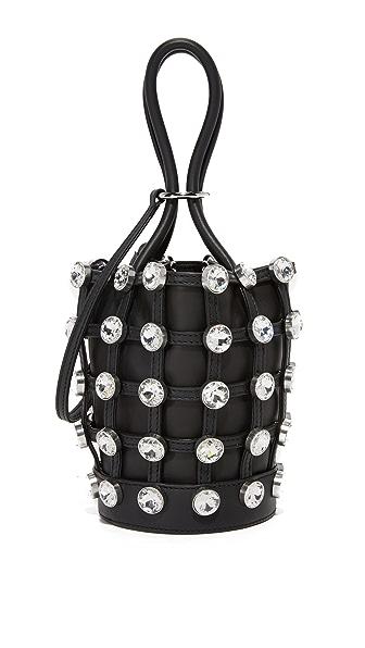 Alexander Wang Crystal Roxy Mini Bucket Bag In Black