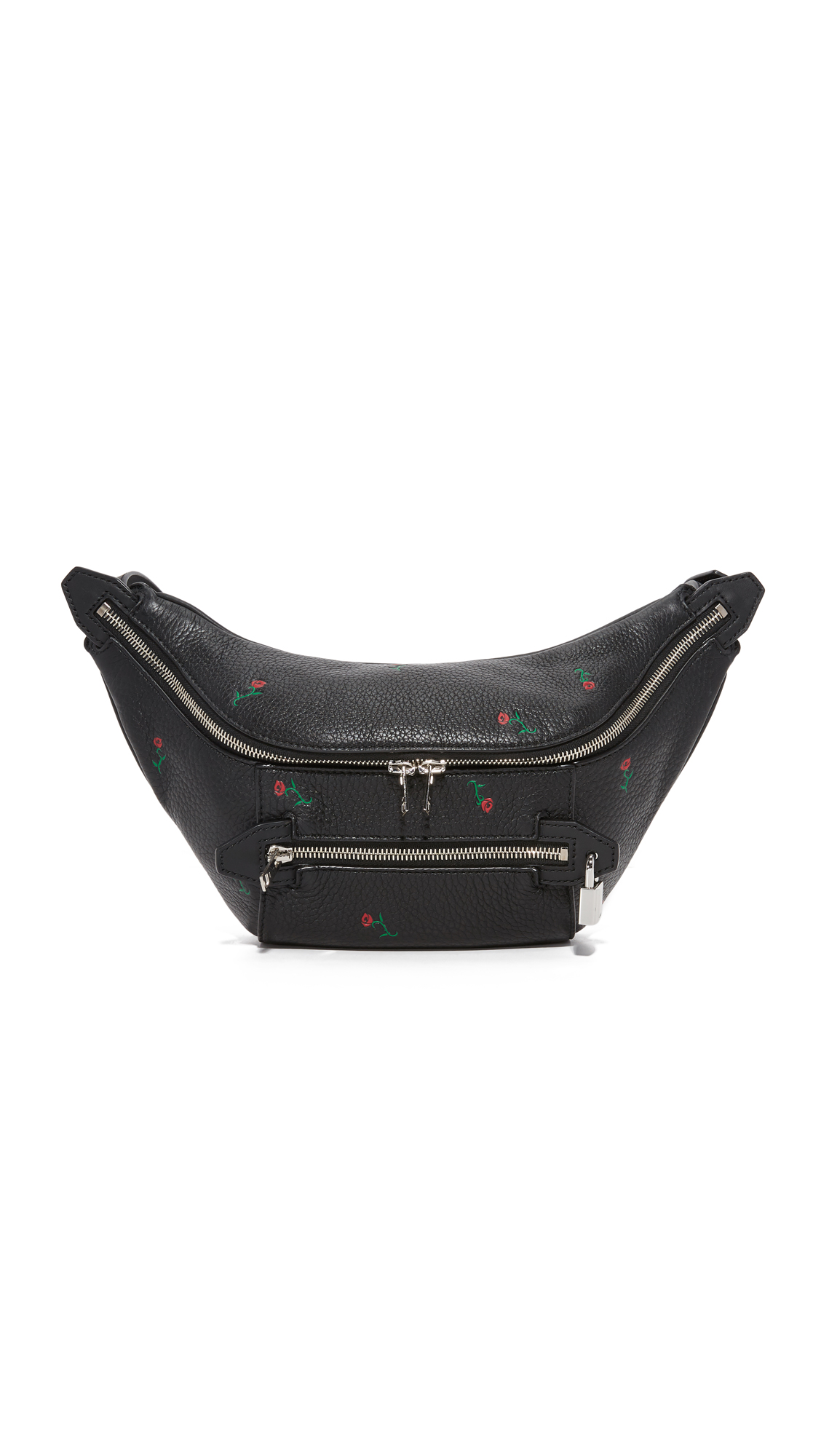 A pebbled leather Alexander Wang fanny pack accented with embossed roses. A polished padlock trims the front pocket. Slim back pocket. The top zip opens to a lined interior. Adjustable belt with buckle closure. Dust bag