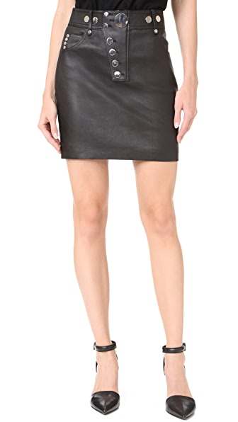 Alexander Wang Кожаная мини-юбка с высокой талией