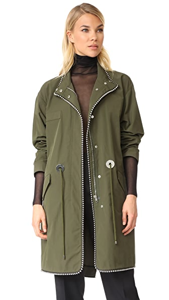 Alexander Wang Oversized Parka with Ball Chain Trim - Army