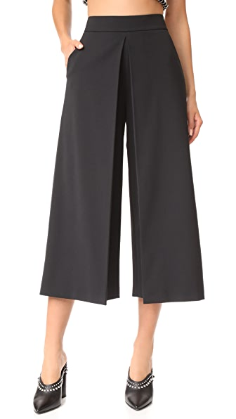 Alexander Wang High Waisted Pants with Front Fold Detail In Onyx