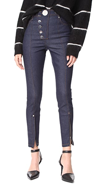 Alexander Wang Multi Snap High Waist Skinny Jeans - Navy