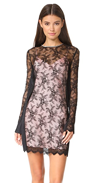 Alexander Wang Long Sleeve Lace Dress with Chain Trim - Onyx