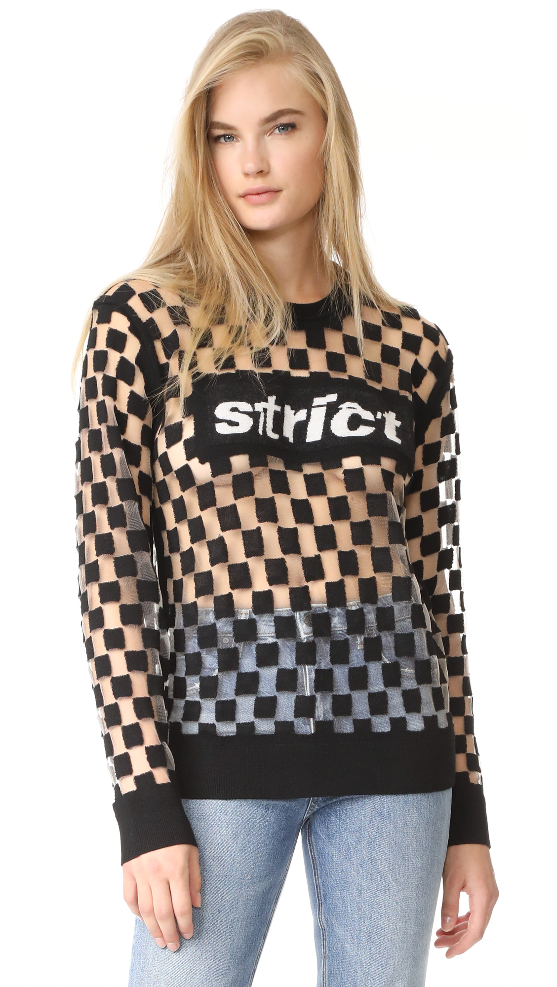 Alexander Wang Burnout Checkerboard Strict Pullover - Black And White
