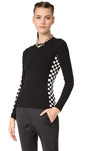 Alexander Wang Long Sleeve Top with Asymmetrical Checkerboard Slit Stripes