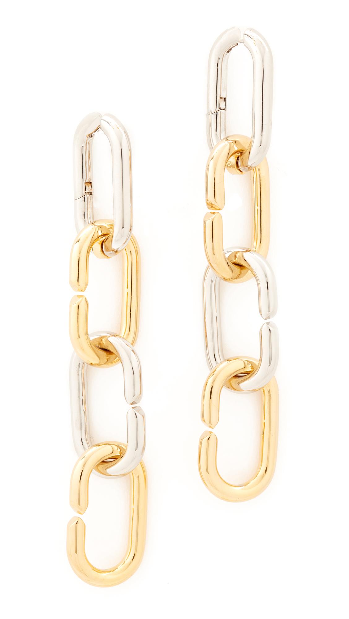 Alexander Wang Broken Link Earrings - Gold/Rhodium