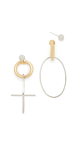 Alexander Wang Cross Earrings - Gold/Rhodium