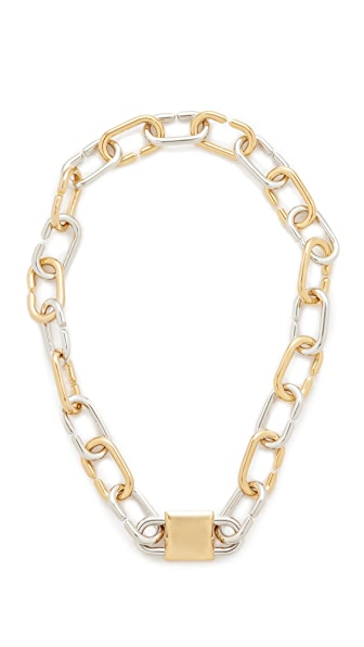 Alexander Wang Broken Link Double Lock Necklace In Gold/Rhodium